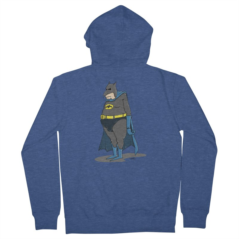 Not Bat but Fat. Fatman. Men's French Terry Zip-Up Hoody by Illustrated Madness