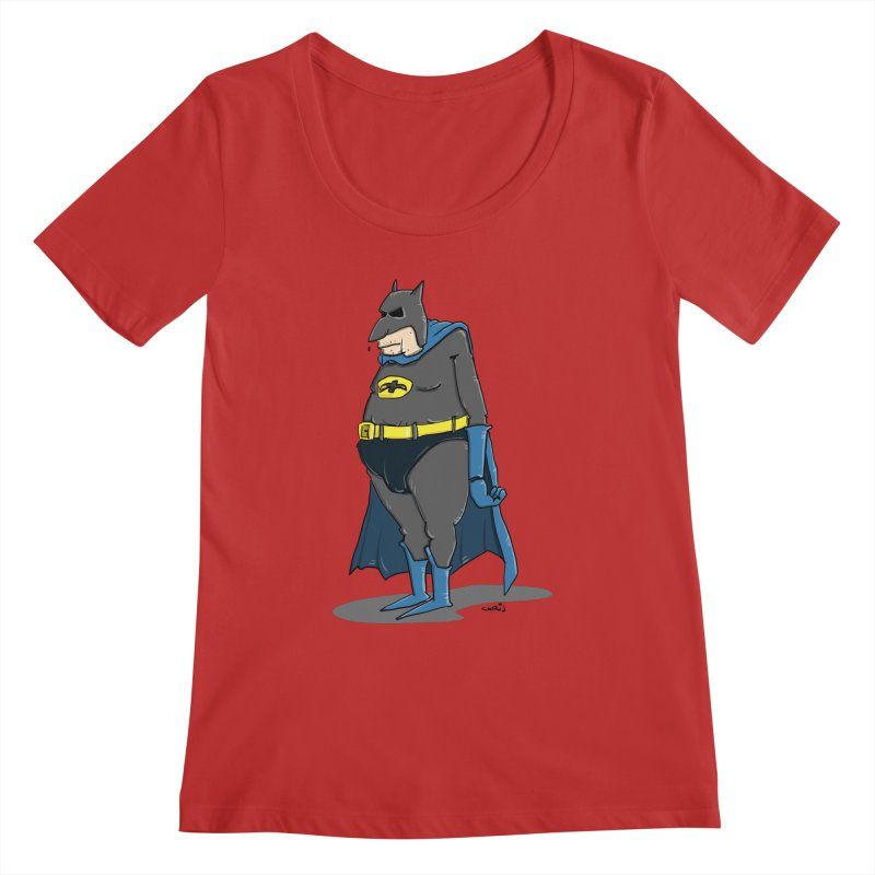 Not Bat but Fat. Fatman. Women's Regular Scoop Neck by Illustrated Madness