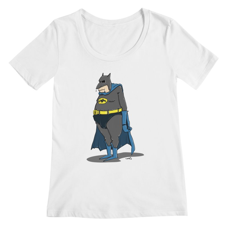 Not Bat but Fat. Fatman. Women's Regular Scoop Neck by Illustrated Madness
