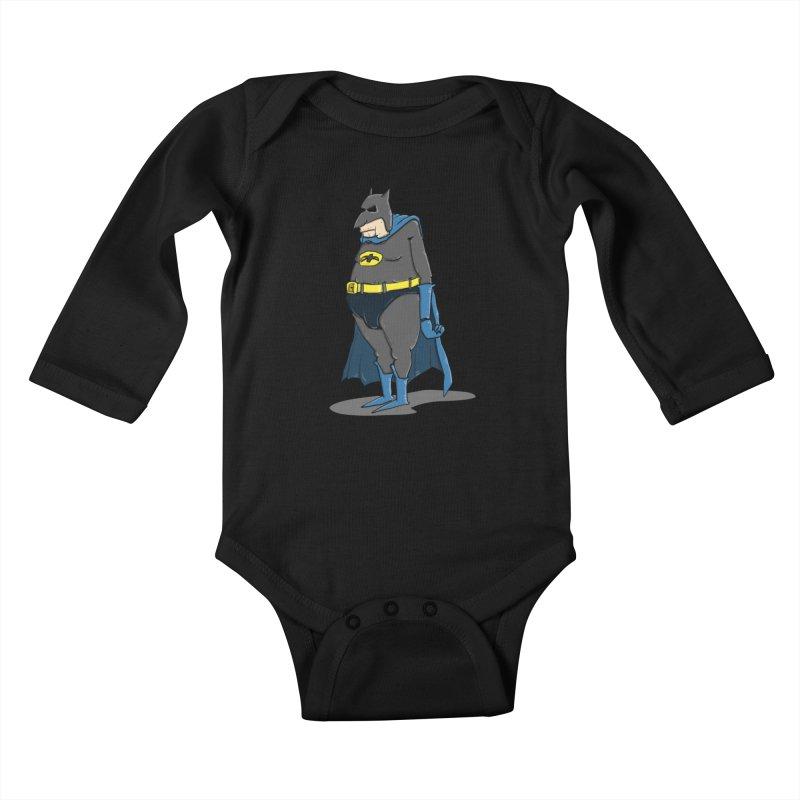 Not Bat but Fat. Fatman. Kids Baby Longsleeve Bodysuit by Illustrated Madness