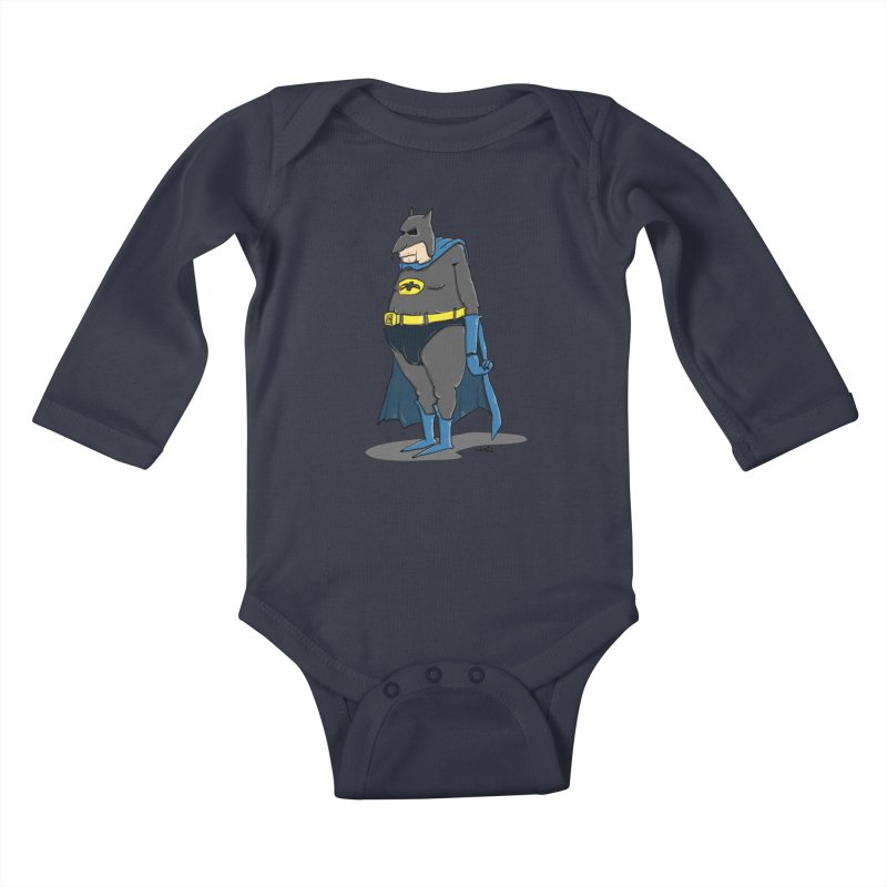 Not Bat but Fat. Fatman. Kids Baby Longsleeve Bodysuit by Illustrated Madness