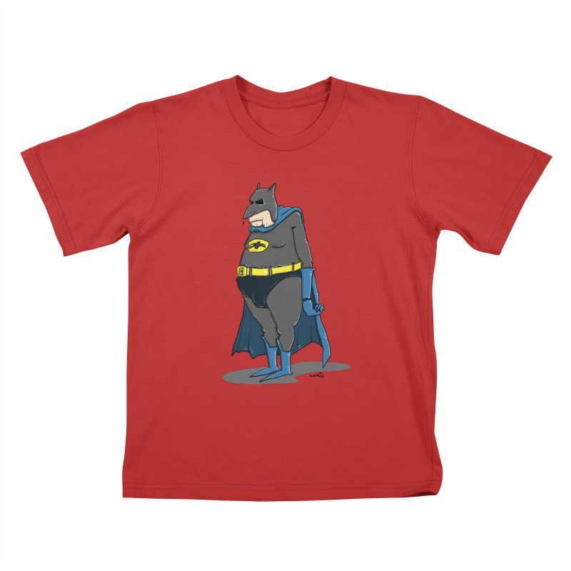 Not Bat but Fat. Fatman. Kids T-Shirt by Illustrated Madness