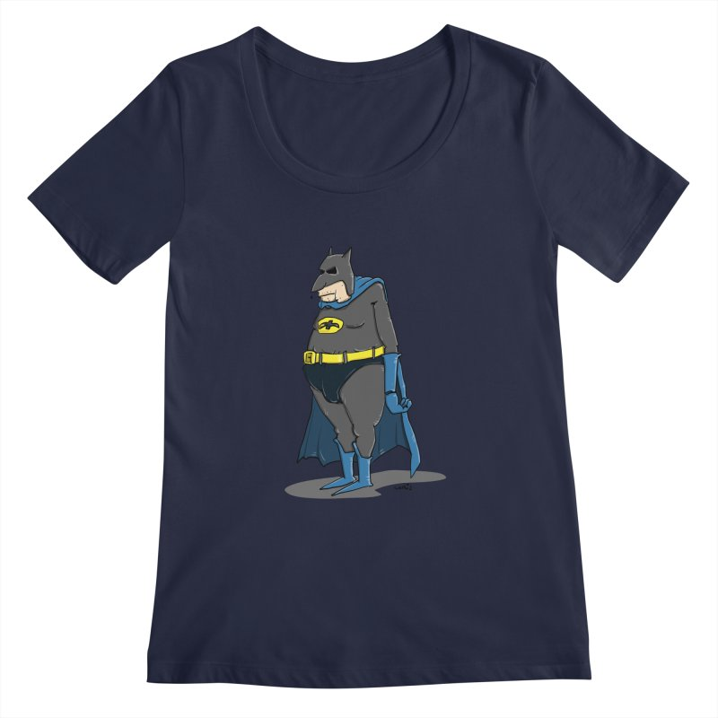 Not Bat but Fat. Fatman. Women's Scoopneck by Illustrated Madness