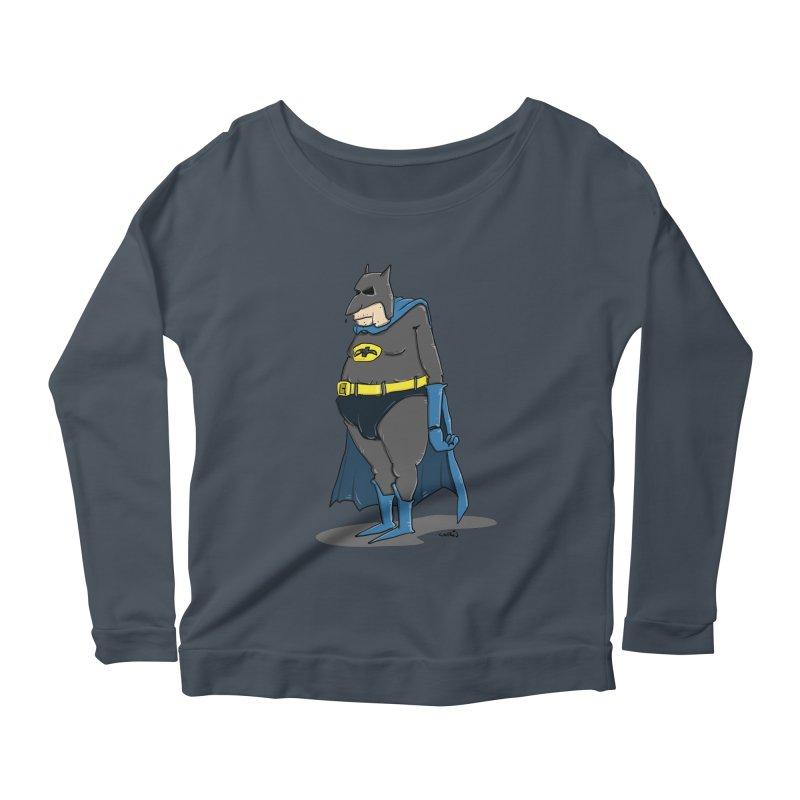 Not Bat but Fat. Fatman. Women's Scoop Neck Longsleeve T-Shirt by Illustrated Madness