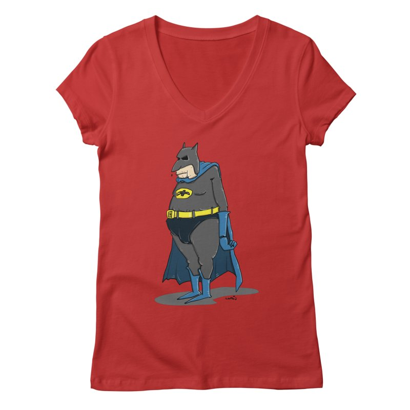 Not Bat but Fat. Fatman. Women's V-Neck by Illustrated Madness