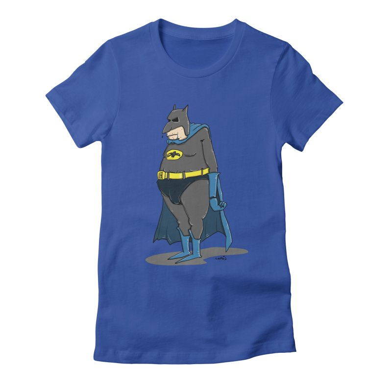 Not Bat but Fat. Fatman. Women's Fitted T-Shirt by Illustrated Madness