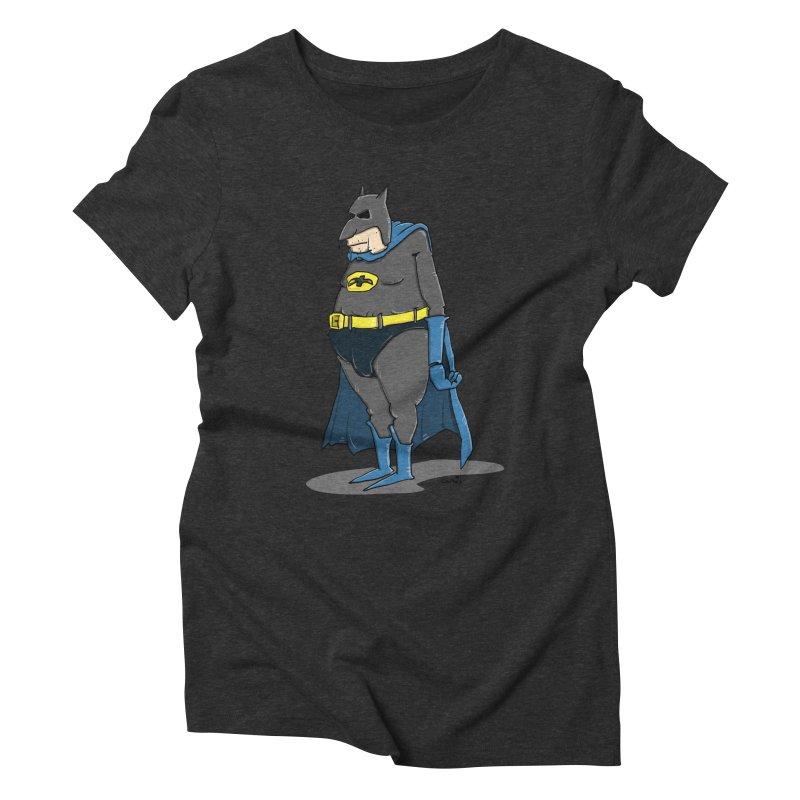 Not Bat but Fat. Fatman. Women's Triblend T-Shirt by Illustrated Madness