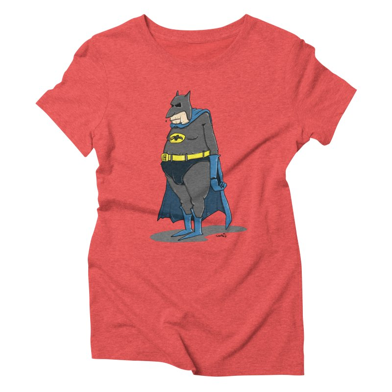 Not Bat but Fat. Fatman. Women's Triblend T-Shirt by Illustrated Madness