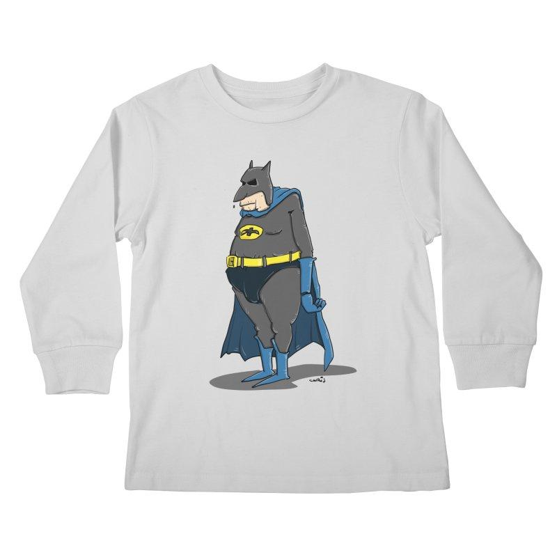 Not Bat but Fat. Fatman. Kids Longsleeve T-Shirt by Illustrated Madness