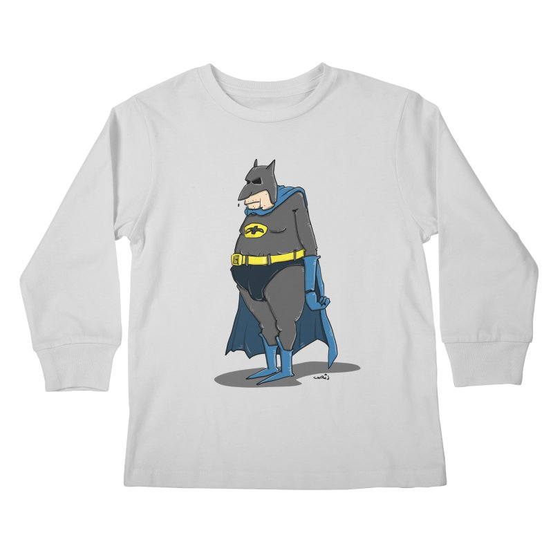 Not Bat but Fat. Fatman. Kids Longsleeve T-Shirt by Illustrated Madness