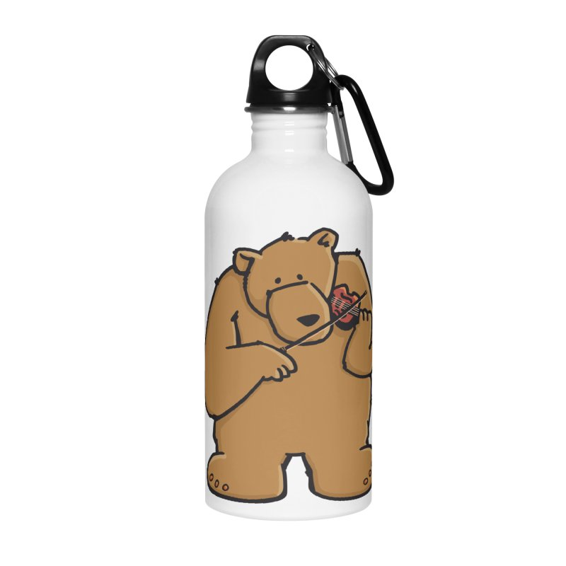 Cute Bear plays a sad and beautiful Love Song on the Violin Accessories Water Bottle by Illustrated Madness