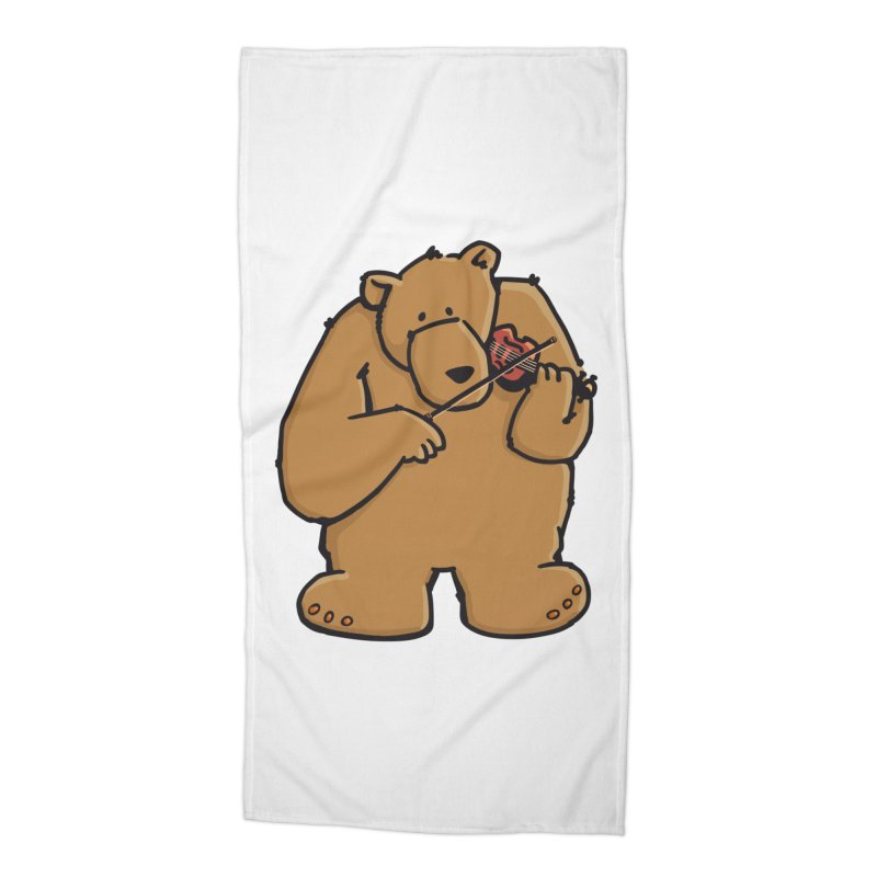 Cute Bear plays a sad and beautiful Love Song on the Violin Accessories Beach Towel by Illustrated Madness