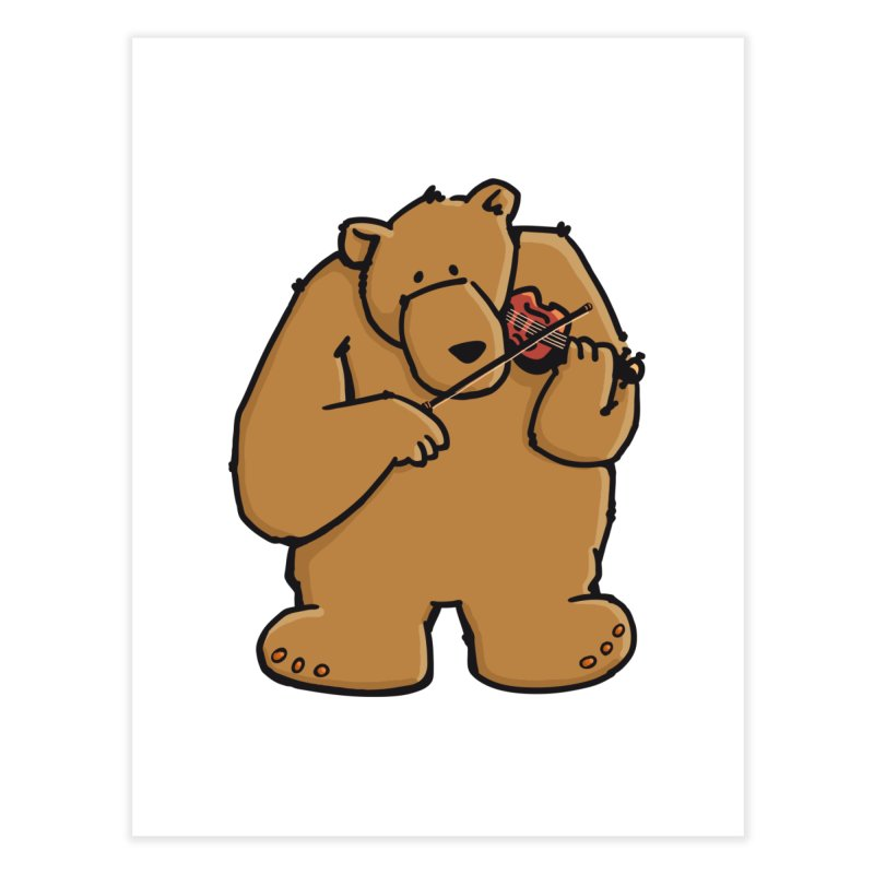 Cute Bear plays a sad and beautiful Love Song on the Violin Home Fine Art Print by Illustrated Madness
