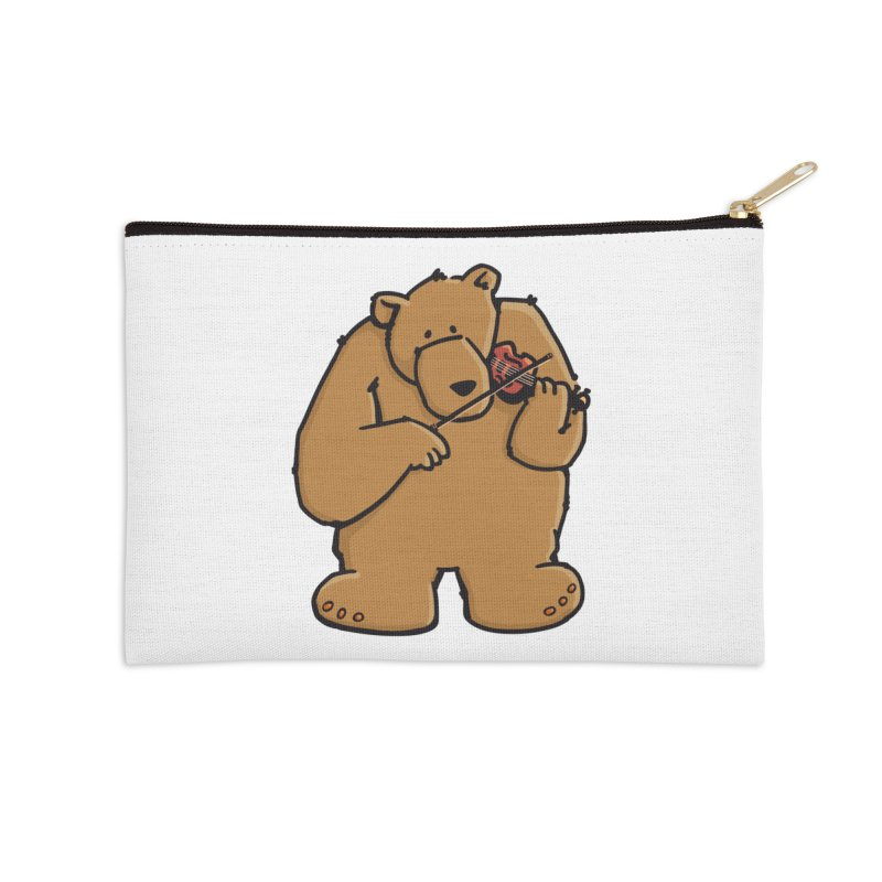 Cute Bear plays a sad and beautiful Love Song on the Violin Accessories Zip Pouch by Illustrated Madness