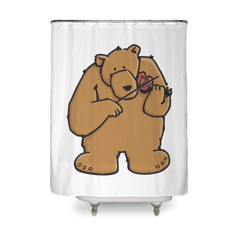 Cute Bear plays a sad and beautiful Love Song on the Violin Home Shower Curtain by Illustrated Madness