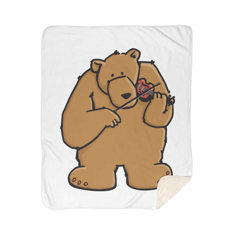 Cute Bear plays a sad and beautiful Love Song on the Violin Home Blanket by Illustrated Madness