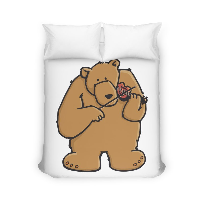 Cute Bear plays a sad and beautiful Love Song on the Violin Home Duvet by Illustrated Madness