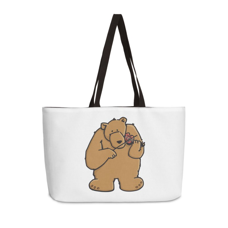 Cute Bear plays a sad and beautiful Love Song on the Violin Accessories Weekender Bag Bag by Illustrated Madness
