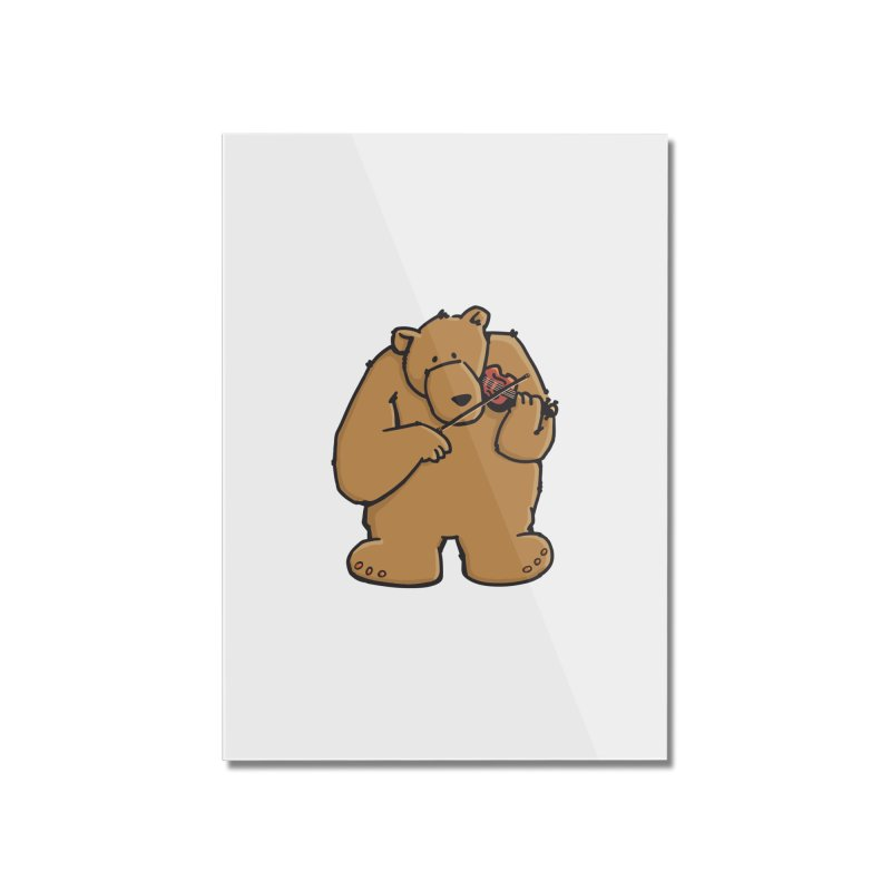 Cute Bear plays a sad and beautiful Love Song on the Violin Home Mounted Acrylic Print by Illustrated Madness