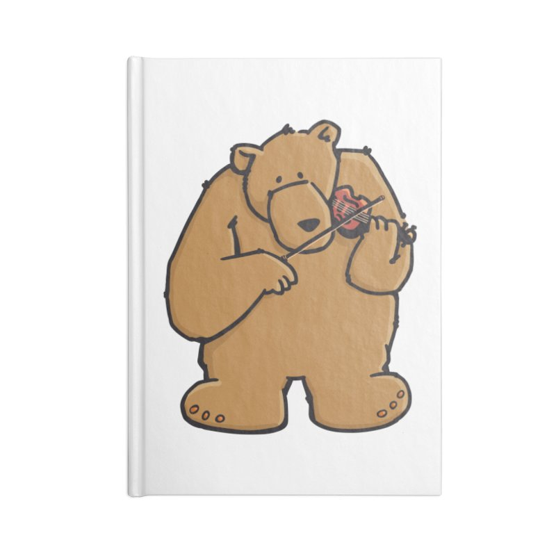 Cute Bear plays a sad and beautiful Love Song on the Violin Accessories Lined Journal Notebook by Illustrated Madness