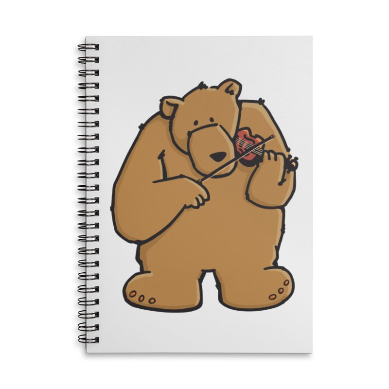 Cute Bear plays a sad and beautiful Love Song on the Violin Accessories Lined Spiral Notebook by Illustrated Madness
