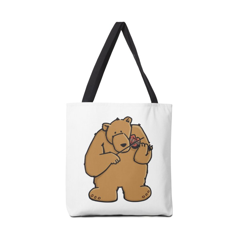 Cute Bear plays a sad and beautiful Love Song on the Violin Accessories Tote Bag Bag by Illustrated Madness