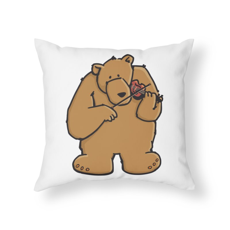 Cute Bear plays a sad and beautiful Love Song on the Violin Home Throw Pillow by Illustrated Madness