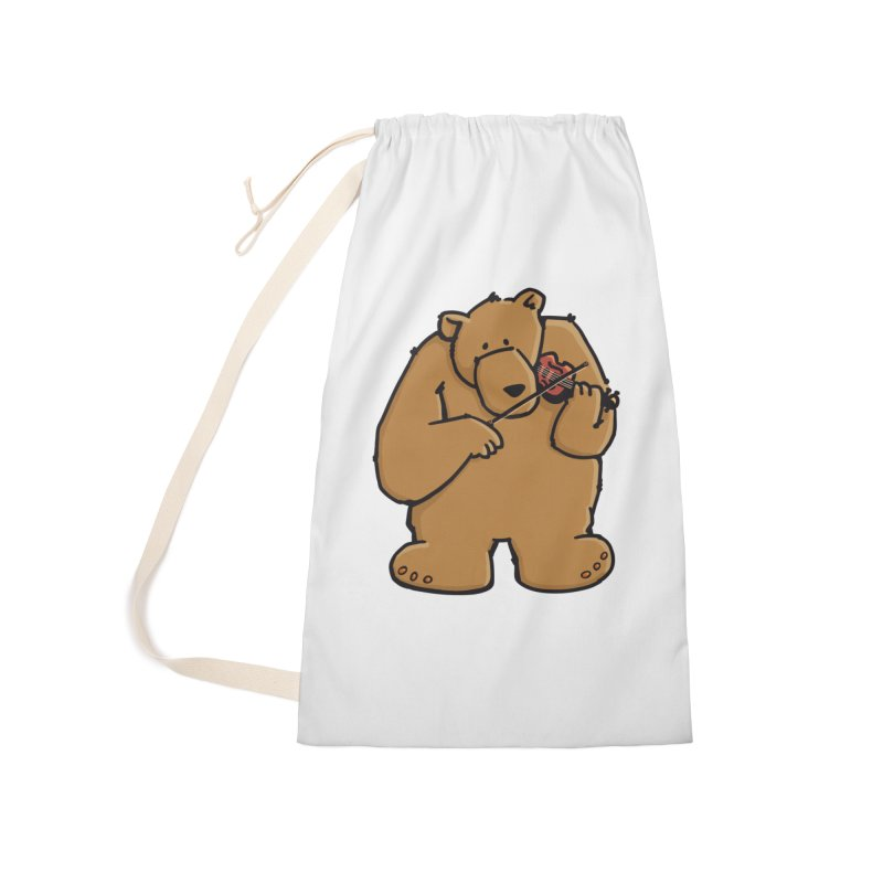 Cute Bear plays a sad and beautiful Love Song on the Violin Accessories Laundry Bag Bag by Illustrated Madness