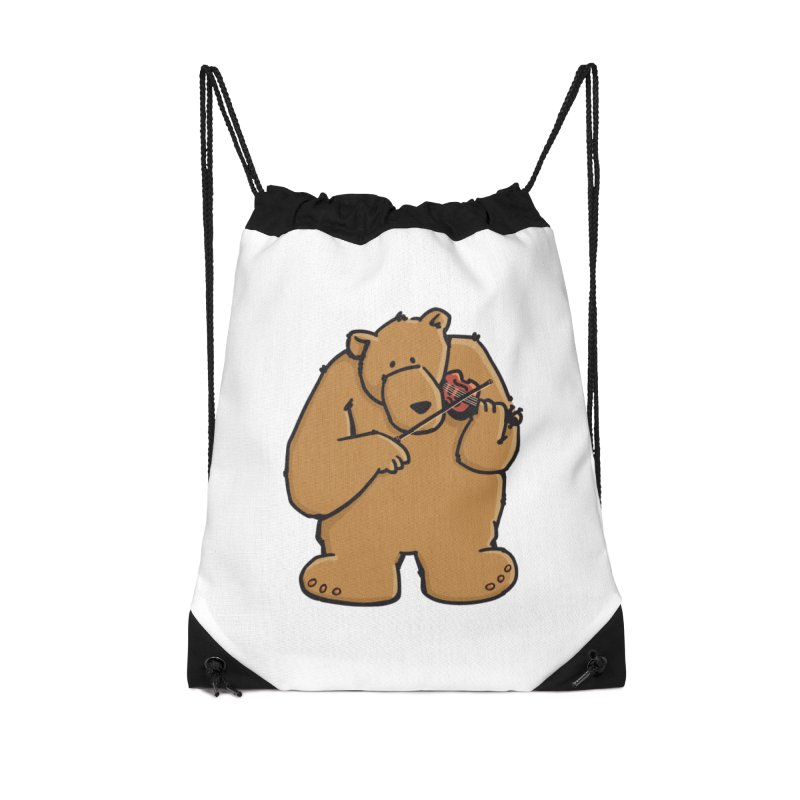 Cute Bear plays a sad and beautiful Love Song on the Violin Accessories Drawstring Bag Bag by Illustrated Madness