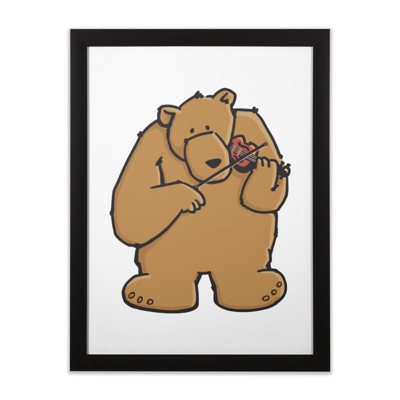 Cute Bear plays a sad and beautiful Love Song on the Violin Home Framed Fine Art Print by Illustrated Madness