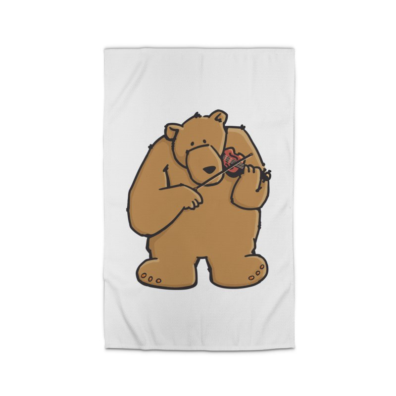 Cute Bear plays a sad and beautiful Love Song on the Violin Home Rug by Illustrated Madness