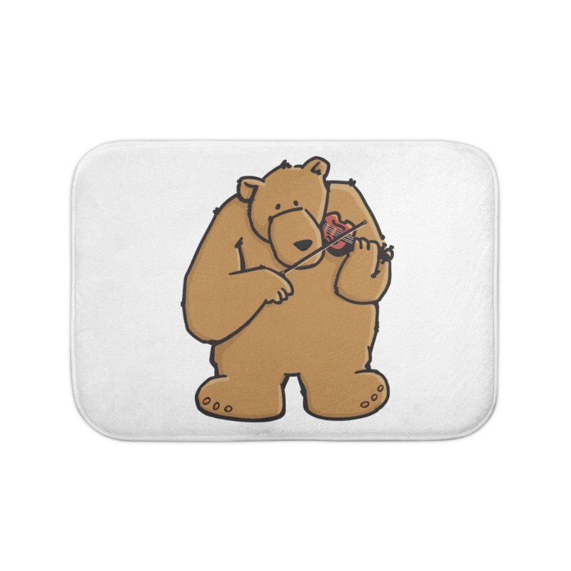 Cute Bear plays a sad and beautiful Love Song on the Violin Home Bath Mat by Illustrated Madness