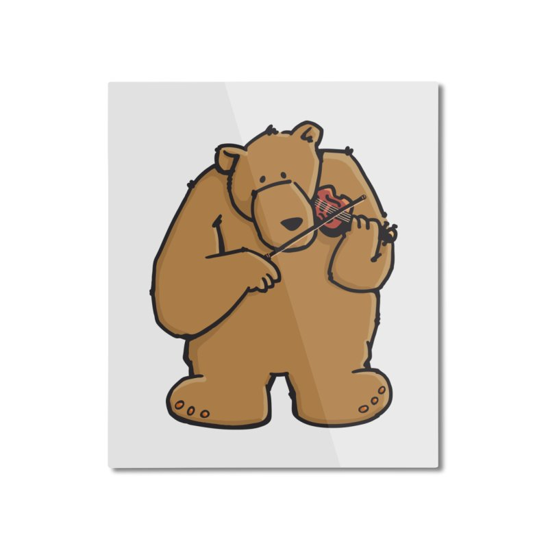 Cute Bear plays a sad and beautiful Love Song on the Violin Home Mounted Aluminum Print by Illustrated Madness
