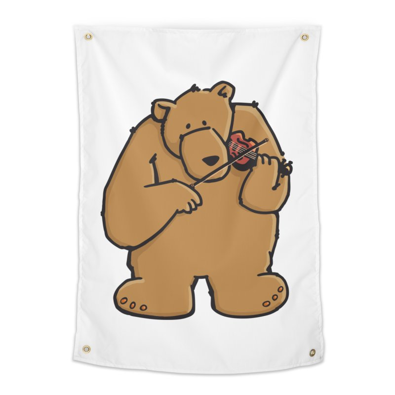 Cute Bear plays a sad and beautiful Love Song on the Violin Home Tapestry by Illustrated Madness