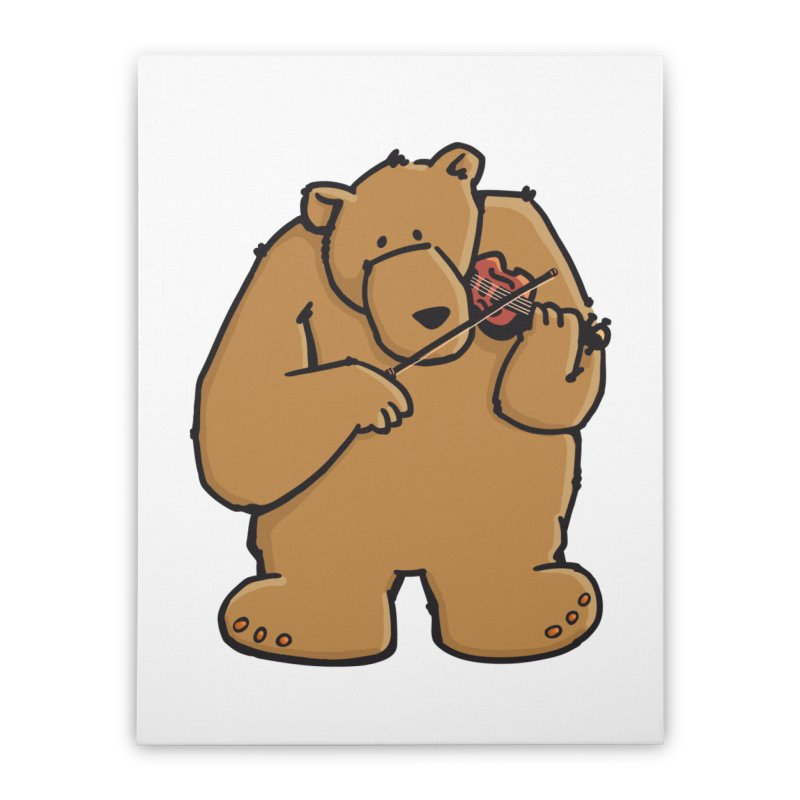 Cute Bear plays a sad and beautiful Love Song on the Violin Home Stretched Canvas by Illustrated Madness