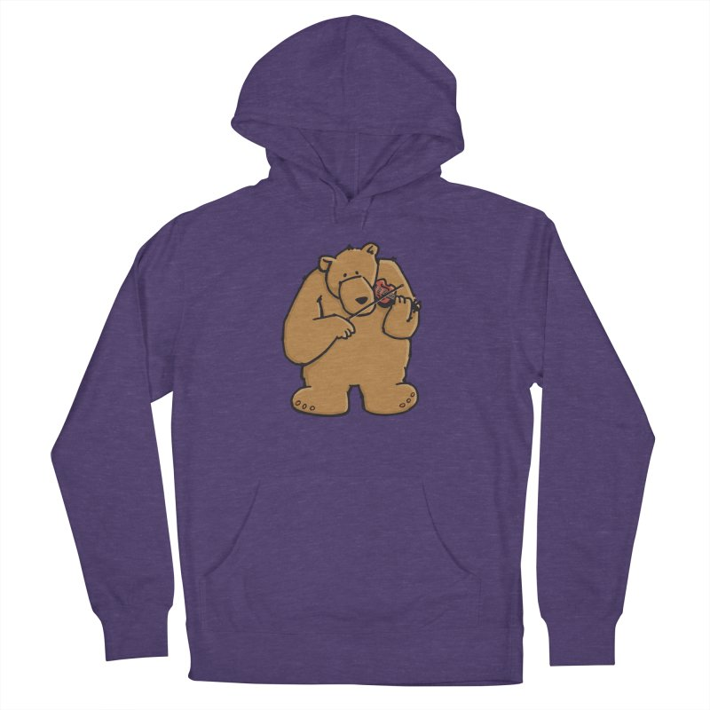 Cute Bear plays a sad and beautiful Love Song on the Violin Men's Pullover Hoody by Illustrated Madness