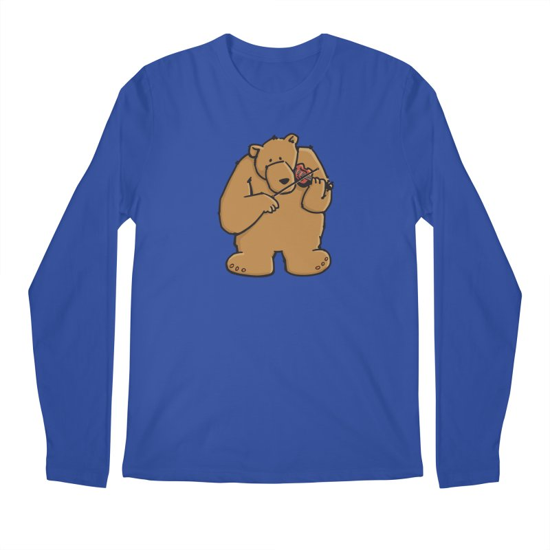 Cute Bear plays a sad and beautiful Love Song on the Violin Men's Longsleeve T-Shirt by Illustrated Madness