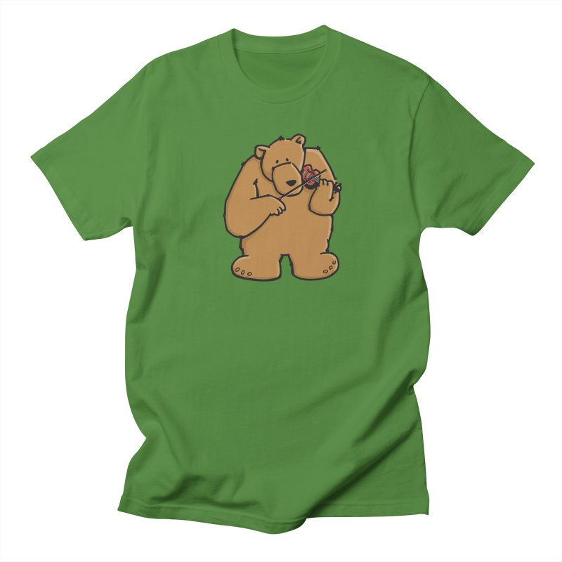 Cute Bear plays a sad and beautiful Love Song on the Violin Men's T-Shirt by Illustrated Madness