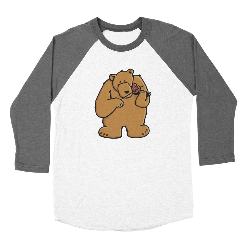 Cute Bear plays a sad and beautiful Love Song on the Violin Women's Longsleeve T-Shirt by Illustrated Madness