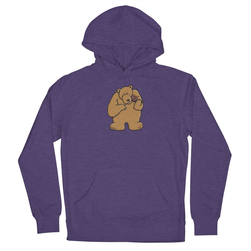 Cute Bear plays a sad and beautiful Love Song on the Violin Women's Pullover Hoody by Illustrated Madness