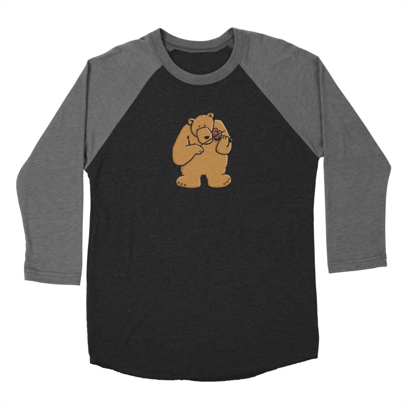 Cute Bear plays a sad and beautiful Love Song on the Violin Men's Baseball Triblend Longsleeve T-Shirt by Illustrated Madness