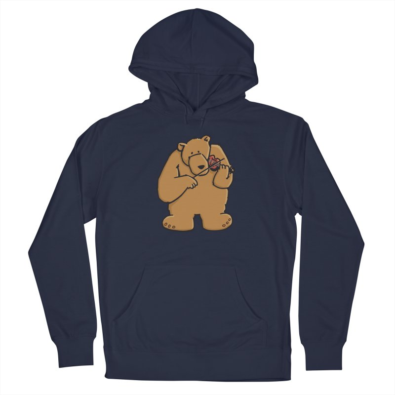Cute Bear plays a sad and beautiful Love Song on the Violin Women's French Terry Pullover Hoody by Illustrated Madness