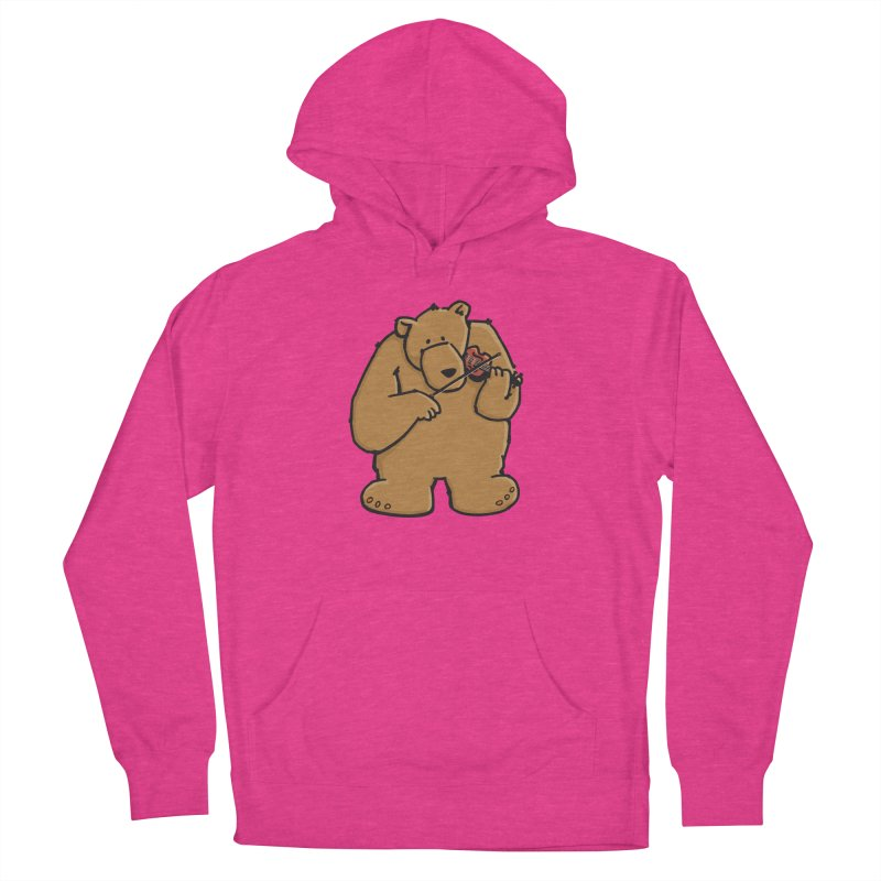 Cute Bear plays a sad and beautiful Love Song on the Violin Men's French Terry Pullover Hoody by Illustrated Madness