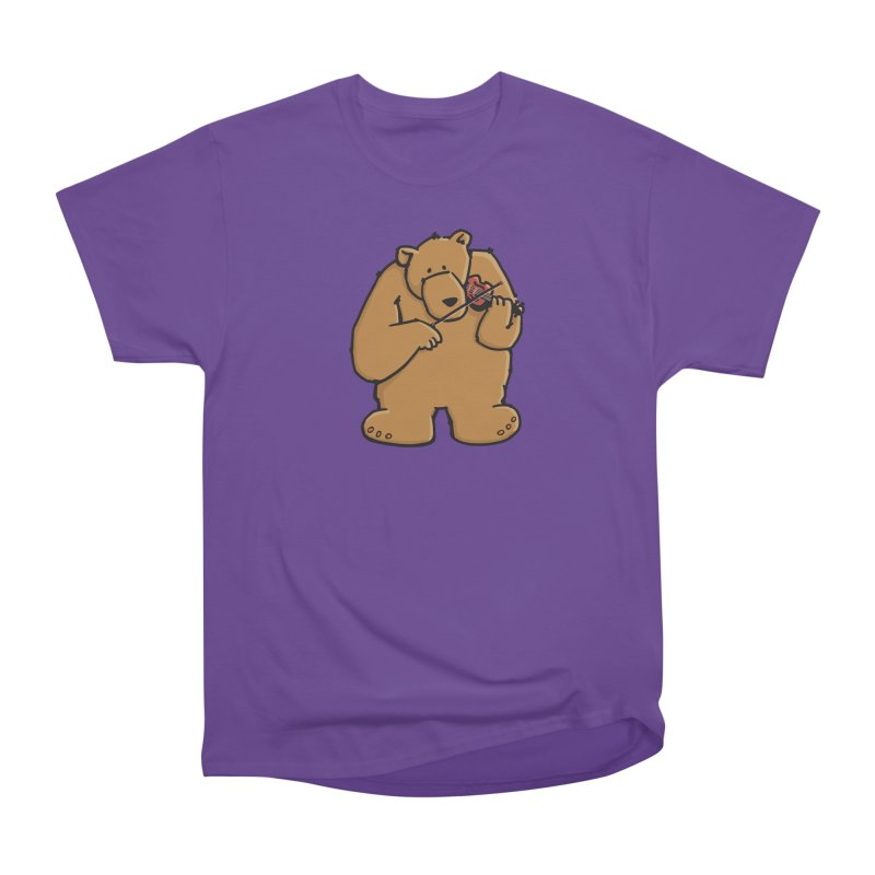 Cute Bear plays a sad and beautiful Love Song on the Violin Women's Heavyweight Unisex T-Shirt by Illustrated Madness