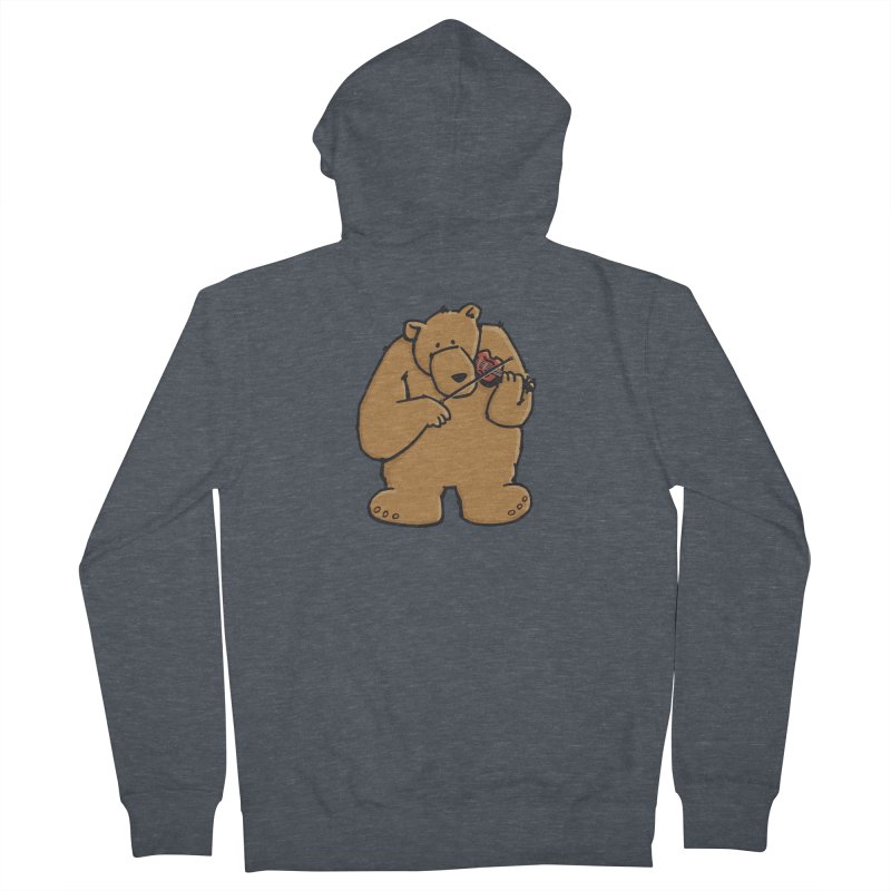 Cute Bear plays a sad and beautiful Love Song on the Violin Women's French Terry Zip-Up Hoody by Illustrated Madness