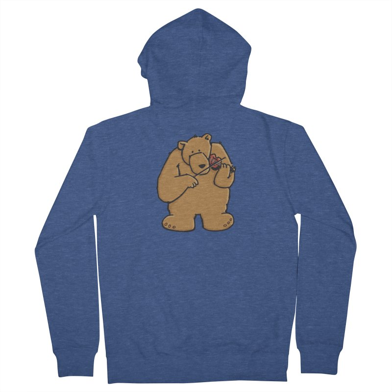 Cute Bear plays a sad and beautiful Love Song on the Violin Men's French Terry Zip-Up Hoody by Illustrated Madness