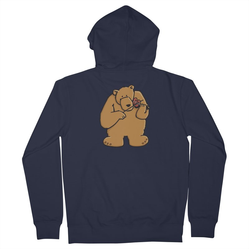 Cute Bear plays a sad and beautiful Love Song on the Violin Men's Zip-Up Hoody by Illustrated Madness