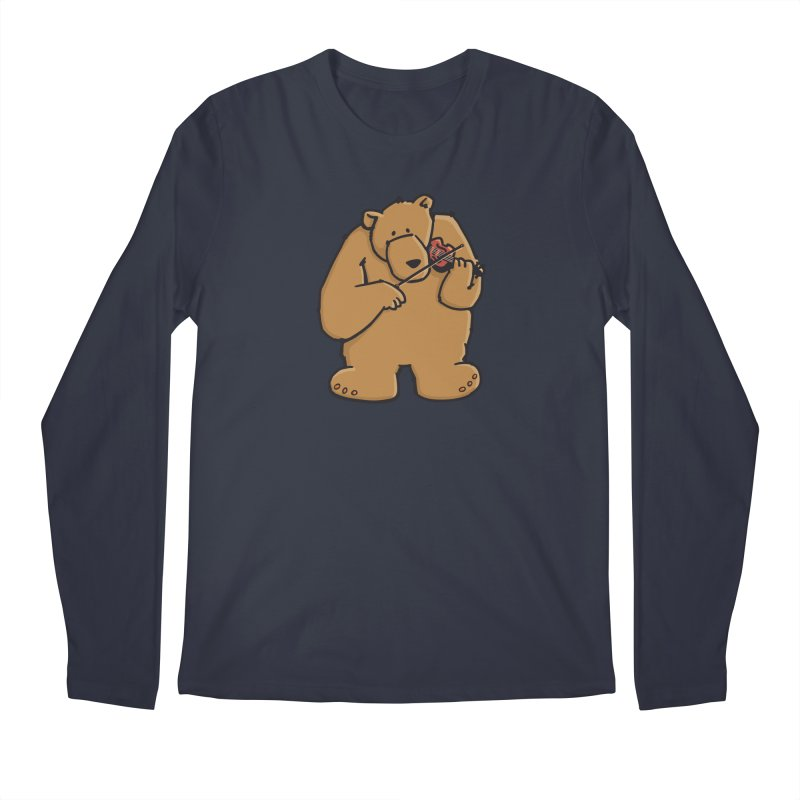 Cute Bear plays a sad and beautiful Love Song on the Violin Men's Regular Longsleeve T-Shirt by Illustrated Madness