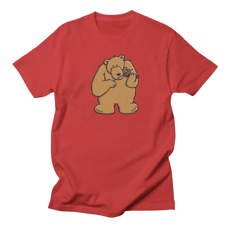 Cute Bear plays a sad and beautiful Love Song on the Violin Women's Regular Unisex T-Shirt by Illustrated Madness