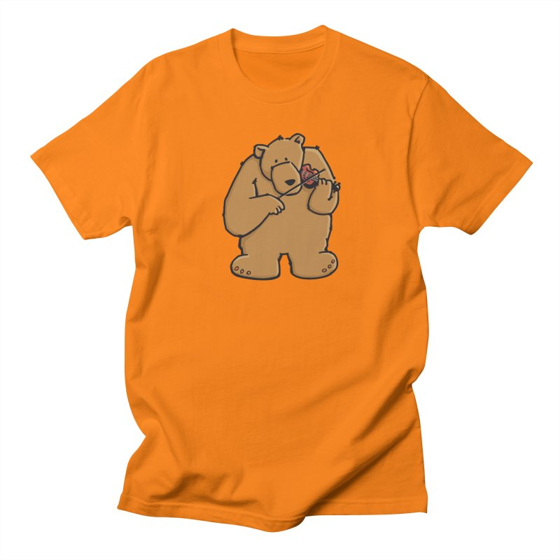 Cute Bear plays a sad and beautiful Love Song on the Violin Men's Regular T-Shirt by Illustrated Madness